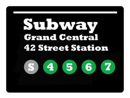 new york times square: New York Times de tren de metro Plaza de signo aislado sobre fondo negro.