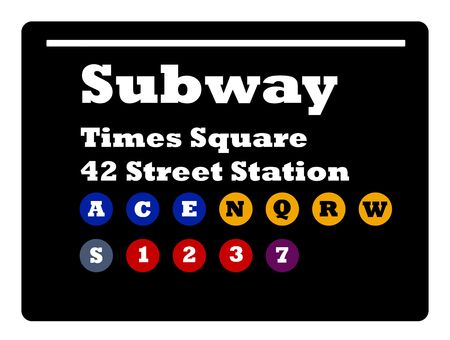 subway train: New York Times Square subway train sign isolated on black background.