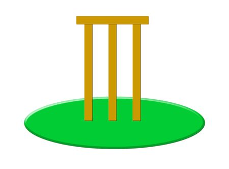 bails: Wooden cricket stumps and bails on grass, isolated on white background. Stock Photo