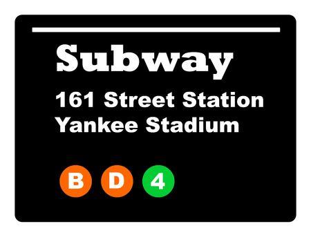 Yankee Stadium subway train sign isolated on black background. photo
