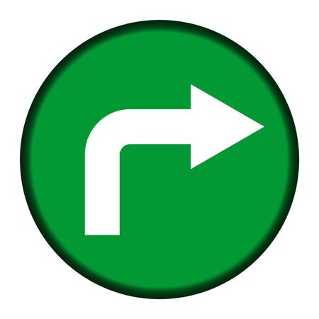 cornering: Green directional button isolated on white background. Stock Photo