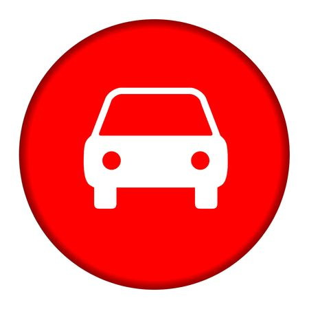 Silhouette of automobile on red button, isolated on white background. photo