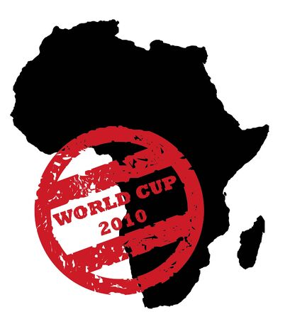 Red South Africa soccer World Cup 2010, superimposed on map, isolated on white background. photo