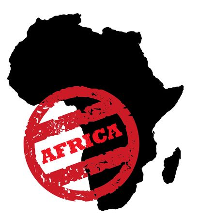 Red passport stamp on black outline of African continent, isolated on white background. photo