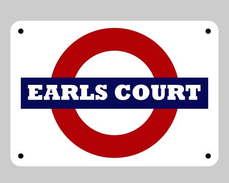 earls court: Earls Court London tube sign isolated on white background.