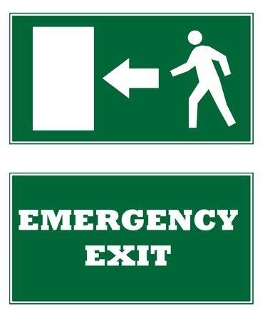 salida de emergencia: Dos se�ales de salida de emergencia, aisladas sobre fondo blanco.