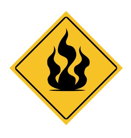 incendiary: Fire warning sign isolated on white background. Stock Photo