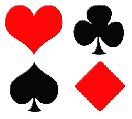 card suits symbol: Playing card symbols or suits, isolated on white background. Stock Photo