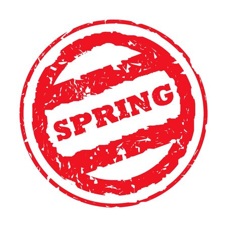 Used red Spring holiday passport stamp, isolated, on white background. photo