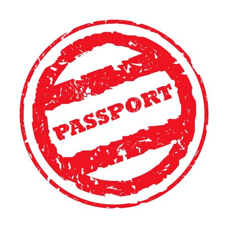 rd: Used red circular passport stamp, isolated on white background. Stock Photo