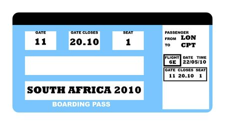 South Africa soccer world cup 2010 boarding pass, isolated on white background. photo