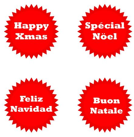 linguistics: Set of four Happy Christmas stickers isolated on white background in English, Italian, Spanish and French languages.