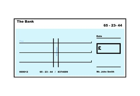 cheque: Blank English Cheque illustration with copy space, isolated on white background.