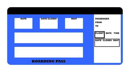 boarding card: Illustrazione della compagnia aerea in bianco imbarco biglietto pass, isolato su sfondo bianco.
