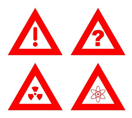 Traiangular red hazard warning signs isolated on white background. photo