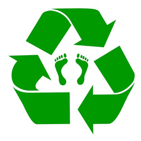 Green recycling symbol with carbon footprint, isolated on white background. photo