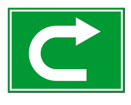 u turn sign: Green directional arrow U turn sign isolated on white background.
