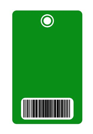 Blank green security pass with bar code reader, isolated on white background. photo