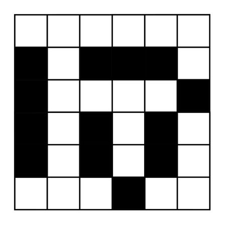 Blank crossword puzzle with word help, isolated on white background.