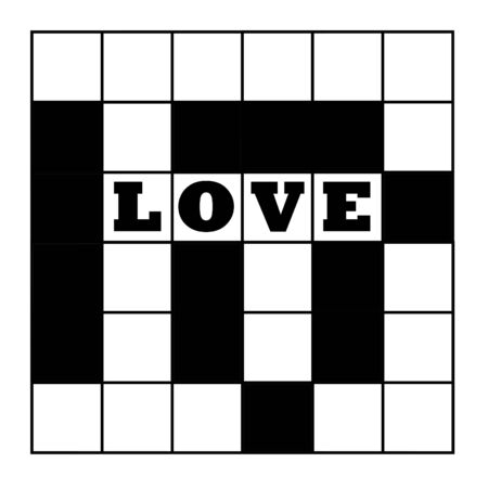 gridwork: Blank crossword puzzle with word love, isolated on white background. Stock Photo