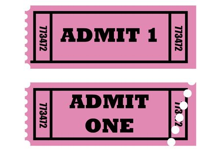 Illustration of two cinema or movie tickets saying admit one, isolated on white background. illustration