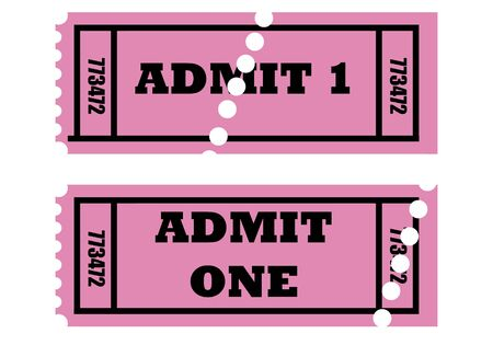 Illustration of two cinema or movie tickets saying admit one, isolated on white background. Stock Illustration - 5659726