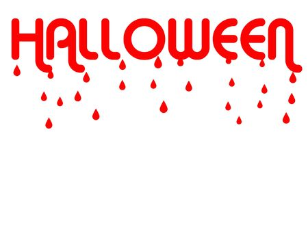 all saints day: Red word Halloween dripping blood, isolated on white background with copy space.