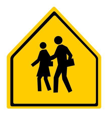 transporte escolar: Advertencia de la escuela o cruzando el signo aislado sobre fondo blanco.