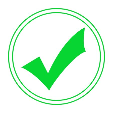 marked: Green tick or check mark in concentric circles, isolated on white background.