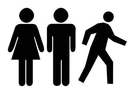 simbolo hombre mujer: Personas silueta aislados sobre fondo blanco.