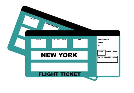 confirm confirmation: Illustration of two New York flight tickets, isolated on white background.