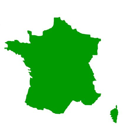 Outline map of France in green, isolated on white background. photo
