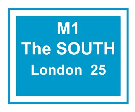 south london: Illustration of M1 motorway sign saying, the south, London 25 miles.