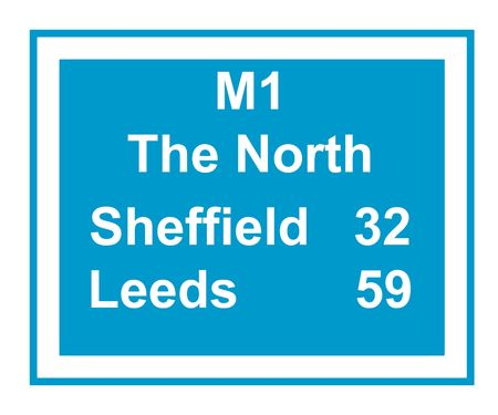 leeds: Illustration of M1 motorway sign saying The North, Leeds 59, Sheffield 32 miles, isolated on white background.