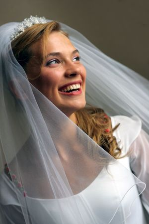 Portrait of smiling young adult bride with white wedding dress, veil and tiara. photo