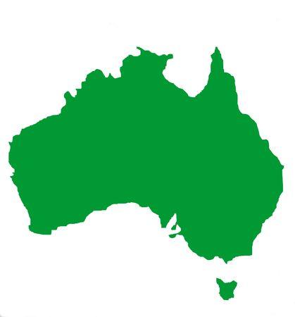 tasmania: Outline map of Australia and Tasmania in blue, isolated on white background.   Stock Photo