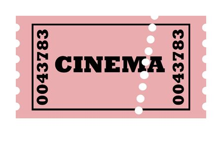 Perforated cinema ticket, isolated on white background. photo