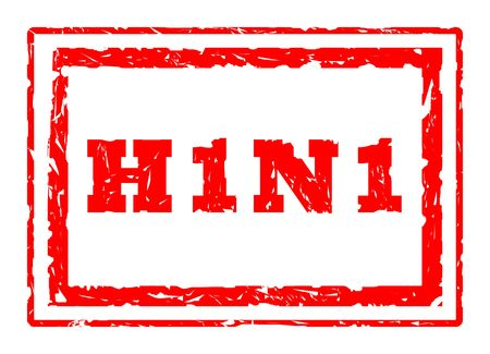 H1N1 Swine Flu virus strain rectangular stamper isolated on white background. photo