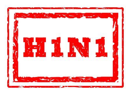 H1N1 Swine Flu virus strain rectangular stamper isolated on white background. photo