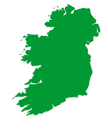 Green outline map of Republic of Ireland Stock Photo - 5800692