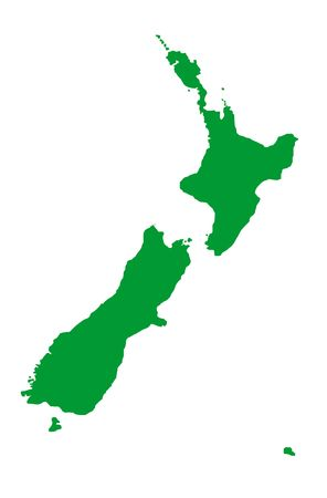 zealand: Outline map of New Zealand in green, isolated on white background.