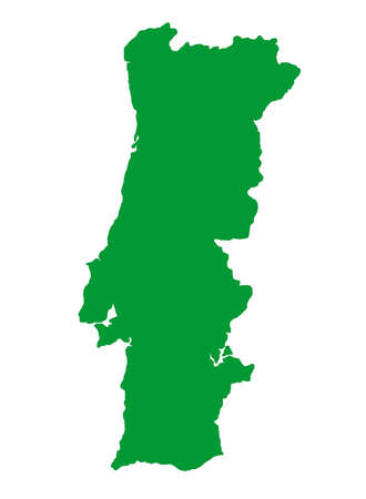 portugese: Outline map of country of Portugal in black, isolated on white background. Stock Photo