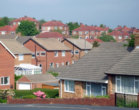 Scenic view of modern housing estate on hillside, Scarborough, England.