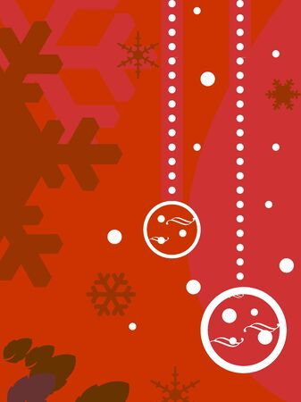 Decorative red Christmas background with copy space and bauble decorations. Stock Photo - 5974031