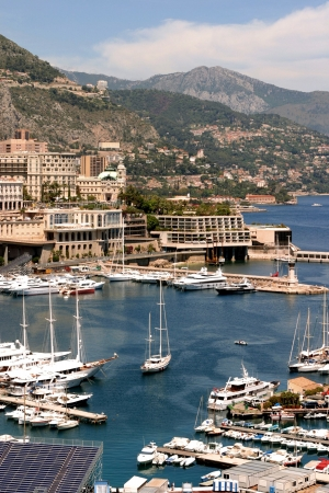 elevated view: Elevated view of boats in Monaco harbor, France.