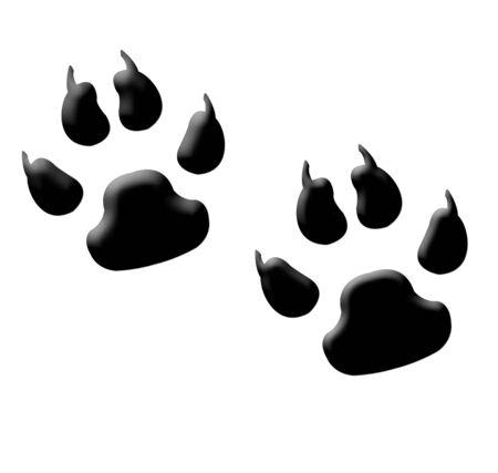huellas de animales: Ilustraci�n de dos huellas de animal o monstruo con garras, aislados sobre fondo blanco.