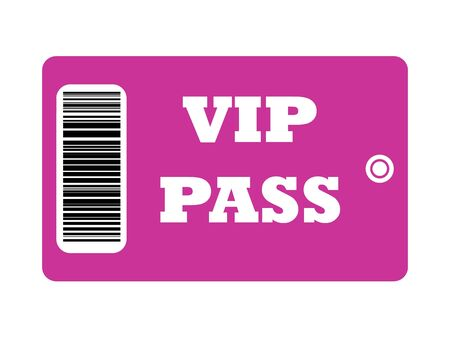 VIP Pass with bar code isolated on white background. photo