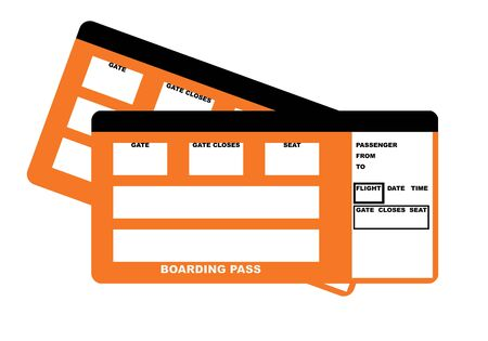 documentation: Illustration of two blank airline boarding pass tickets, isolated on white background.