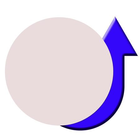 upturned: Circular button with attached rising or increasing arrow, isolated on white background.