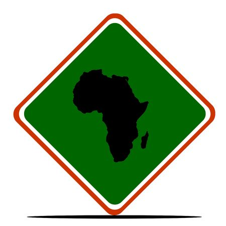 African continent sign in colors of Pan-African flag, isolated on white background. Stock Photo - 6110505